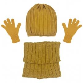 Czapka w prążki i szalik golf i rękawiczki : musztardowy