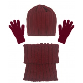 Czapka w prążki i szalik golf i rękawiczki : bordowy