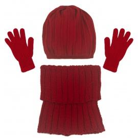 Czapka w prążki i szalik golf i rękawiczki : czerwony
