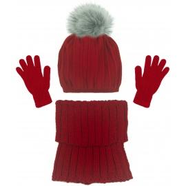 Czapka w prążki z pomponem i szalik golf i rękawiczki : czerwony