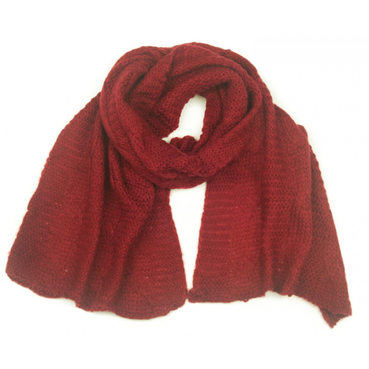 Puszysty damski szalik w warkocze - bordowy ciemna czerwień