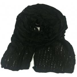 Puszysty ażurowy damski szalik - czarny