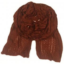 Puszysty ażurowy damski szalik - rudy