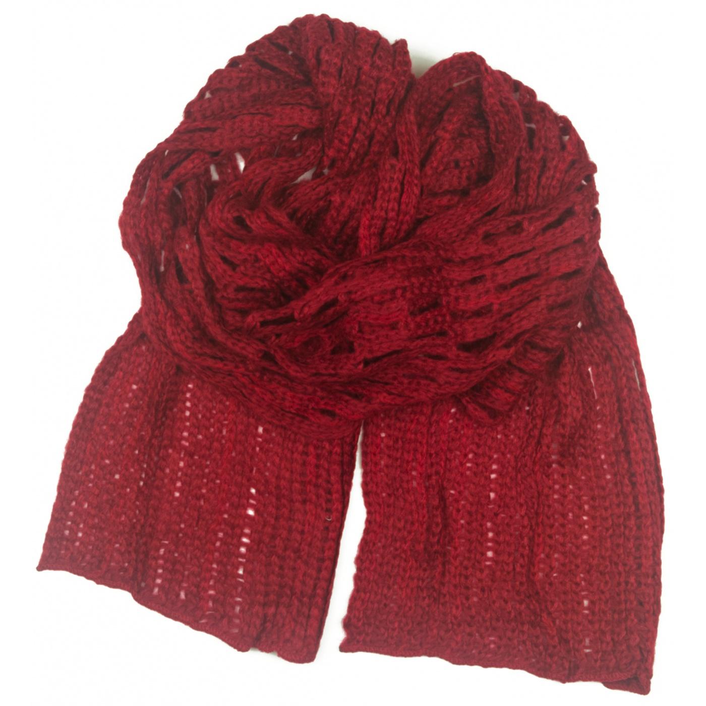 Puszysty ażurowy damski szalik - czerwony