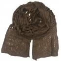 Puszysty ażurowy damski szalik - brązowy