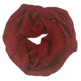 Damski szalik komin z tęczową nitką - czerwony