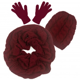 Czapka warkocze, szalik komin i rękawiczki : bordowy