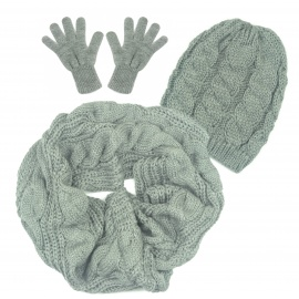 Czapka warkocze, szalik komin i rękawiczki : szary