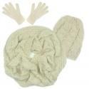 Czapka warkocze, szalik komin i rękawiczki : beżowy