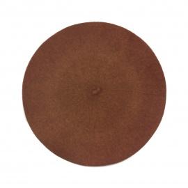 Klasyczny damski beret wełniany – jasny brązowy