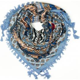 Chusta w azteckie wzory - błękitna niebieska