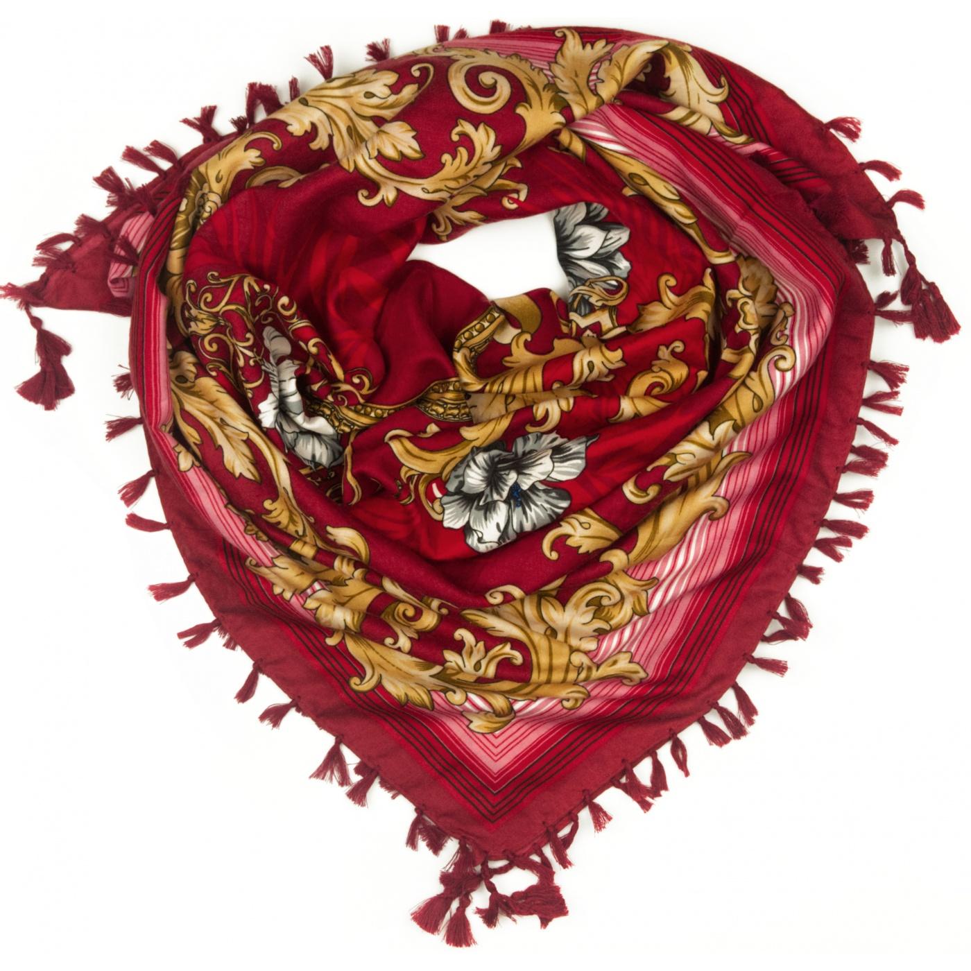 Chusta w złote wzory i róże - czerwona