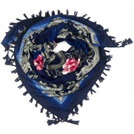 Chusta w srebrne wzory i róże - niebieska