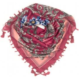 Chusta w srebrne wzory i róże - karminowa