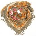 Chusta w złote wzory i kwiaty - beżowa khaki