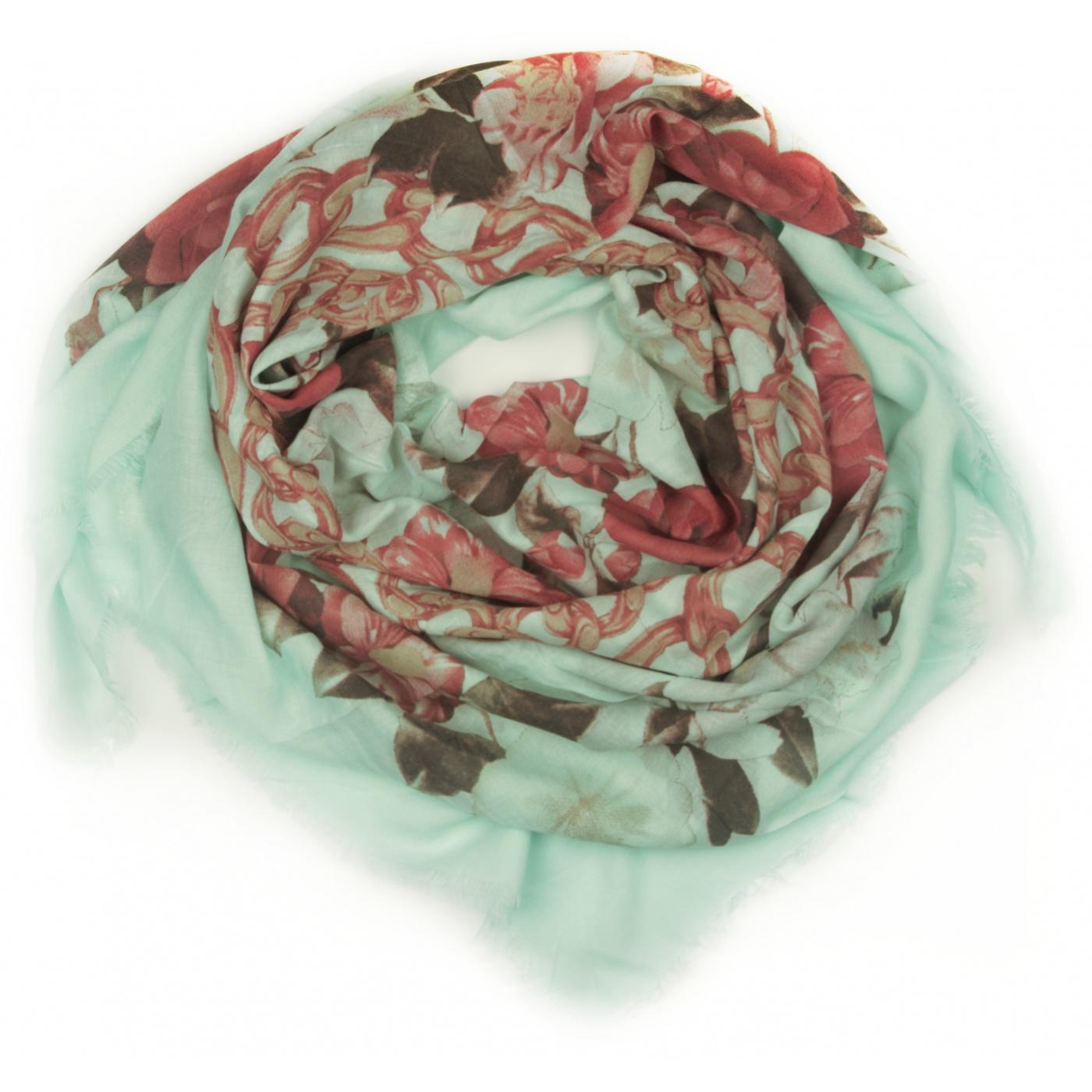 Chusta w róże i łańcuchy - miętowa zielona