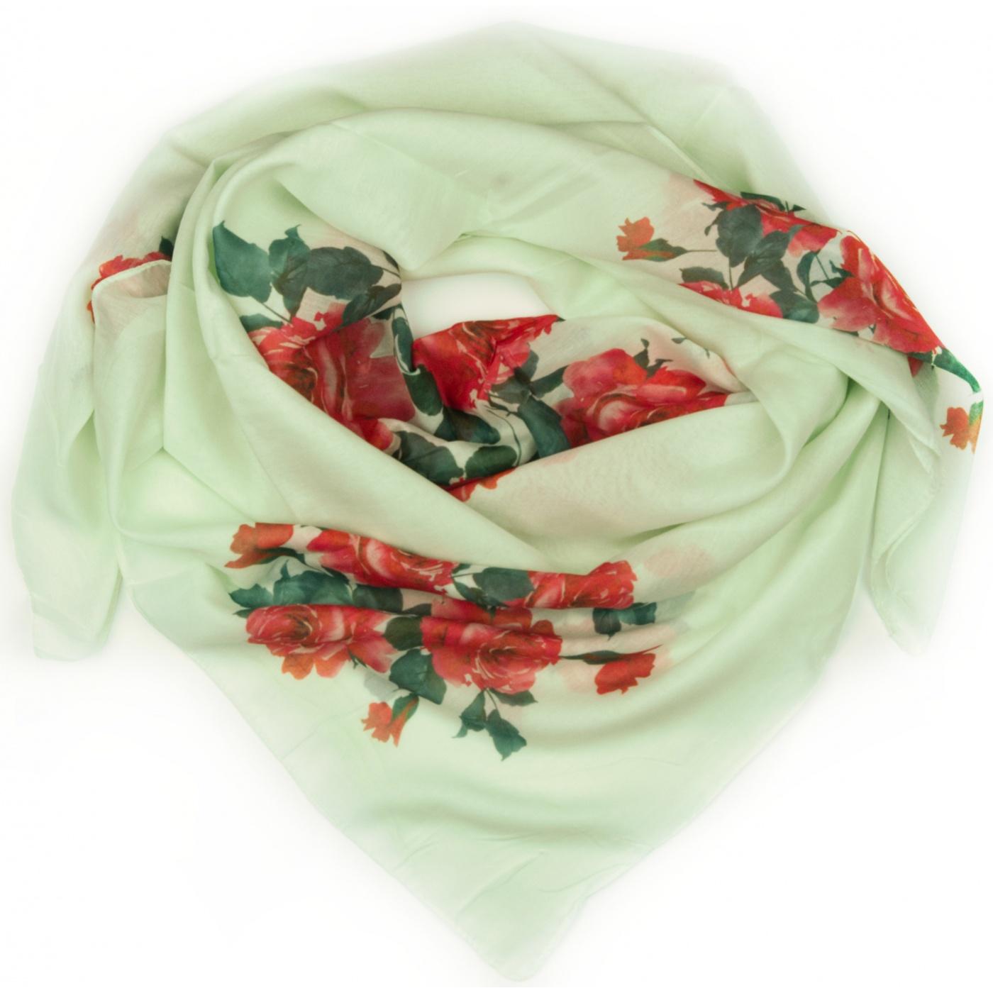 Chusta duża apaszka w róże - zielona