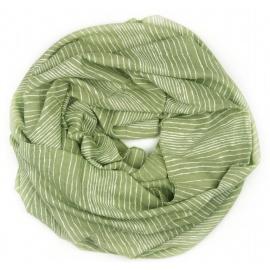 Szalik z nadrukiem w prążki - oliwkowy zielony