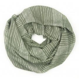 Szalik z nadrukiem w prążki - khaki zielony