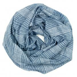 Szalik z nadrukiem w prążki - jeansowy niebieski