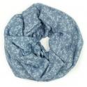 Szalik z nadrukiem w kwiatki - jeansowy niebieski