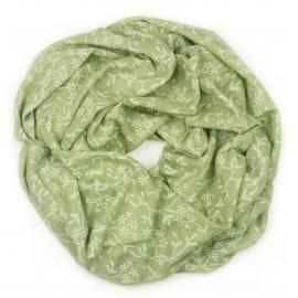 Szalik z nadrukiem w kwiatki - oliwkowy zielony