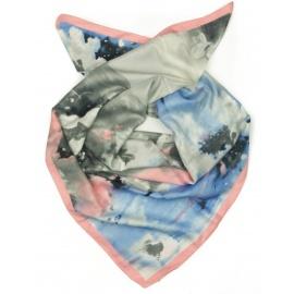 Chusta apaszka - szarości / niebieski / różowy