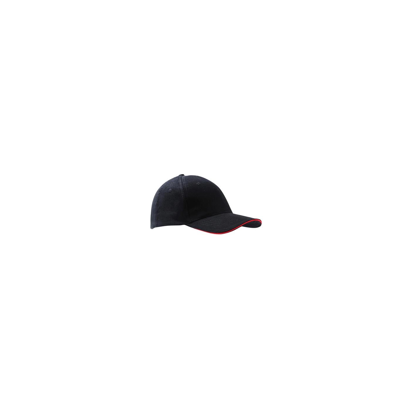 Czapka z daszkiem bejsbolówka – czarna z czerwonym akcentem w daszku