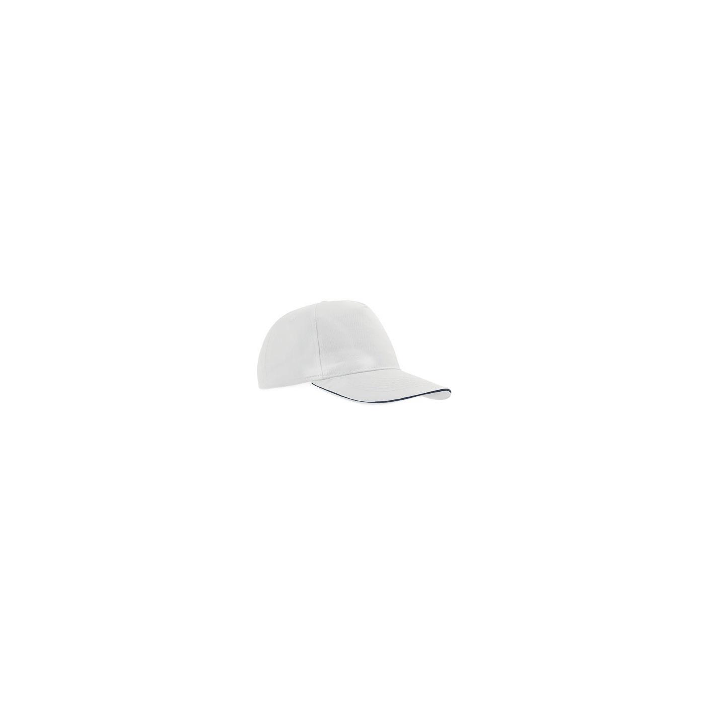 Czapka z daszkiem baseball – biała z granatowym akcentem w daszku