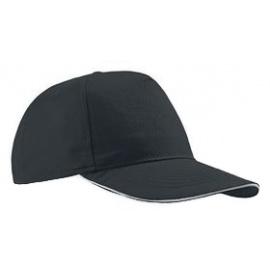 Czapka z daszkiem baseball – czarna z białym akcentem w daszku