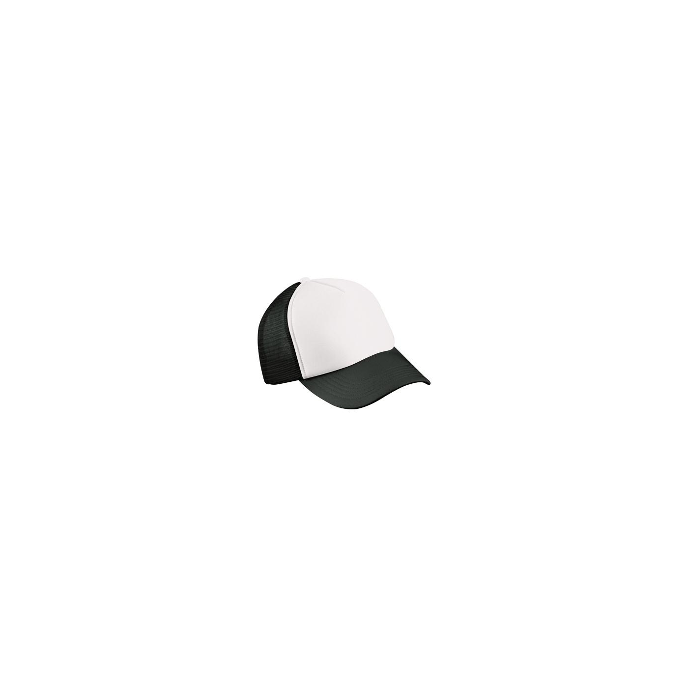Czapka truckerka bejsbolówka – biała z czarną siatką