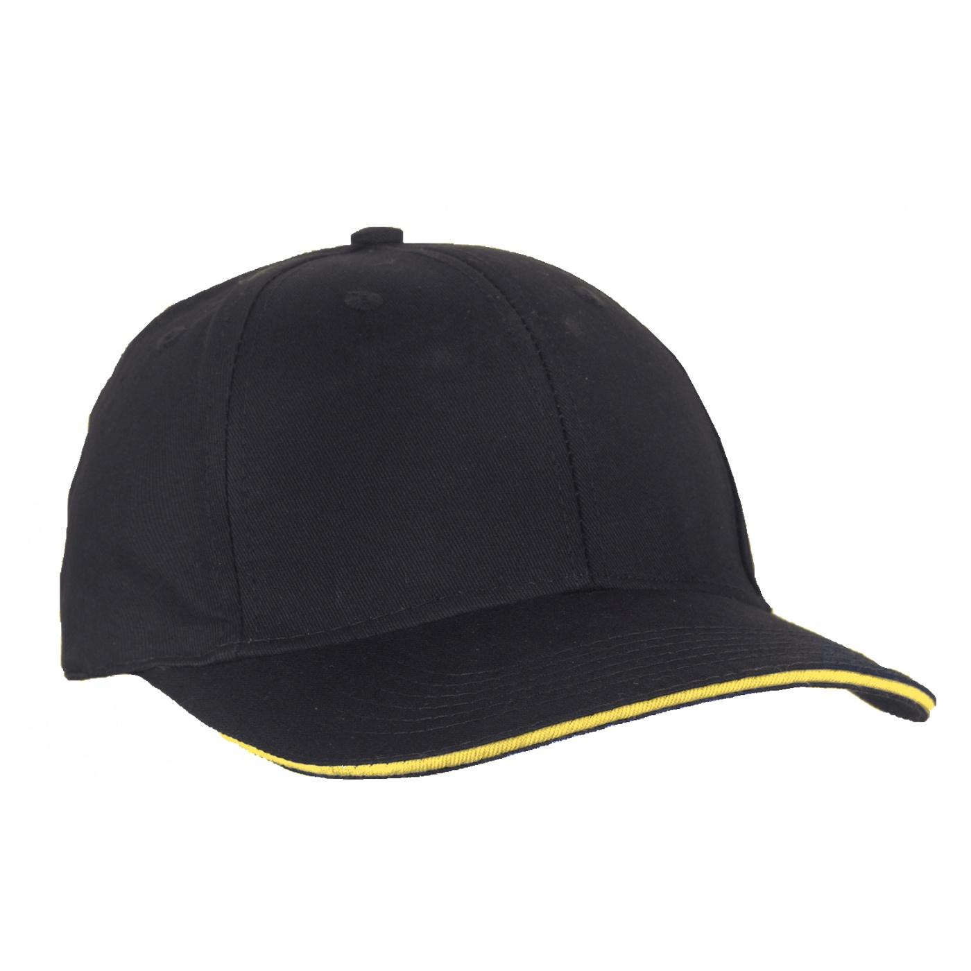 Czapka z daszkiem bejsbolówka – czarna z żółtym akcentem w daszku