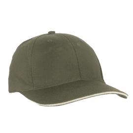 Czapka z daszkiem bejsbolówka – wojskowy zielony z beżowym akcentem w daszku