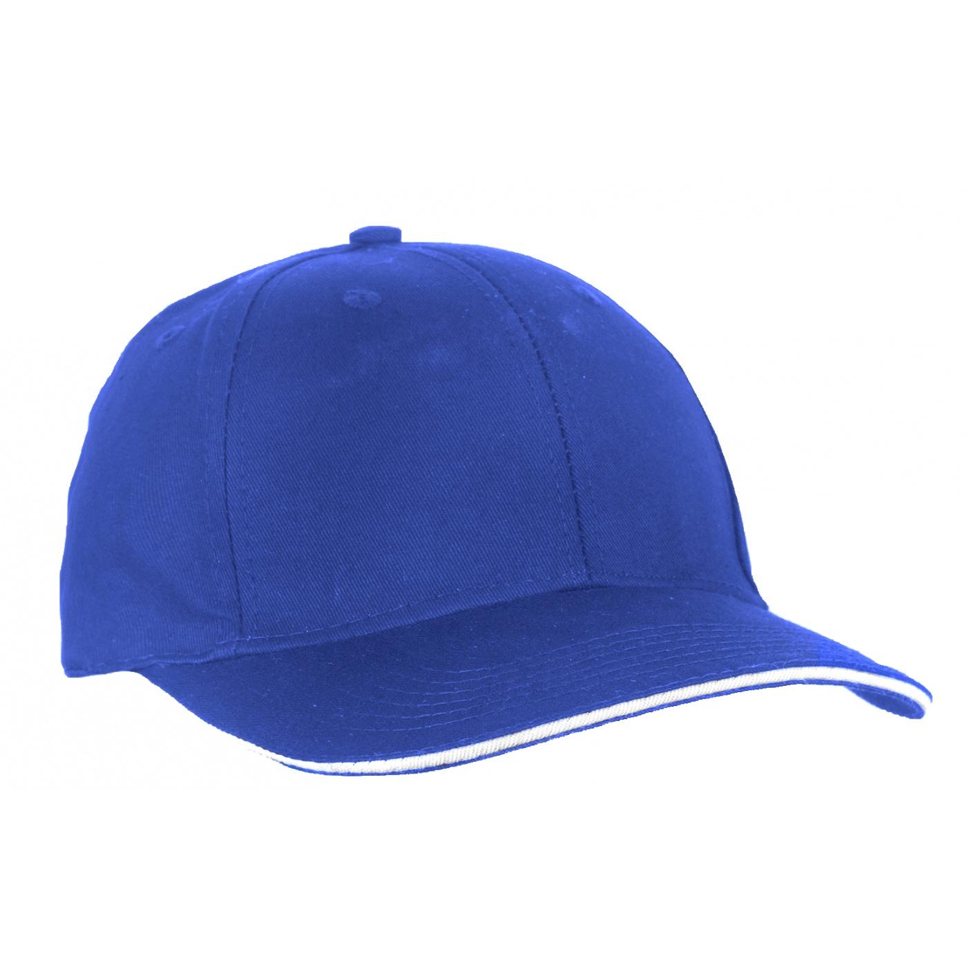 Czapka z daszkiem bejsbolówka – niebieski z białym akcentem w daszku