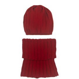 Komplet Emma czapka damska w prążki i szalik golf - czerwony