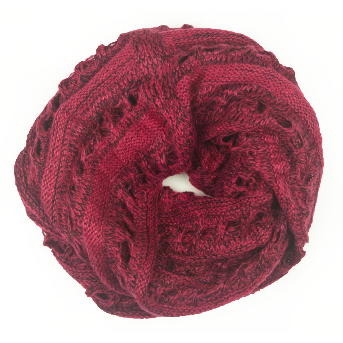 Ażurowy damski szalik komin - różowo-czarny melanż