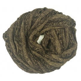 Ażurowy damski szalik komin - brązowo-beżowy melanż