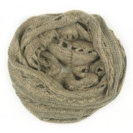 Ażurowy damski szalik komin - szaro-beżowy melanż
