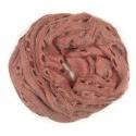 Ażurowy damski szalik komin - różowo-szary melanż