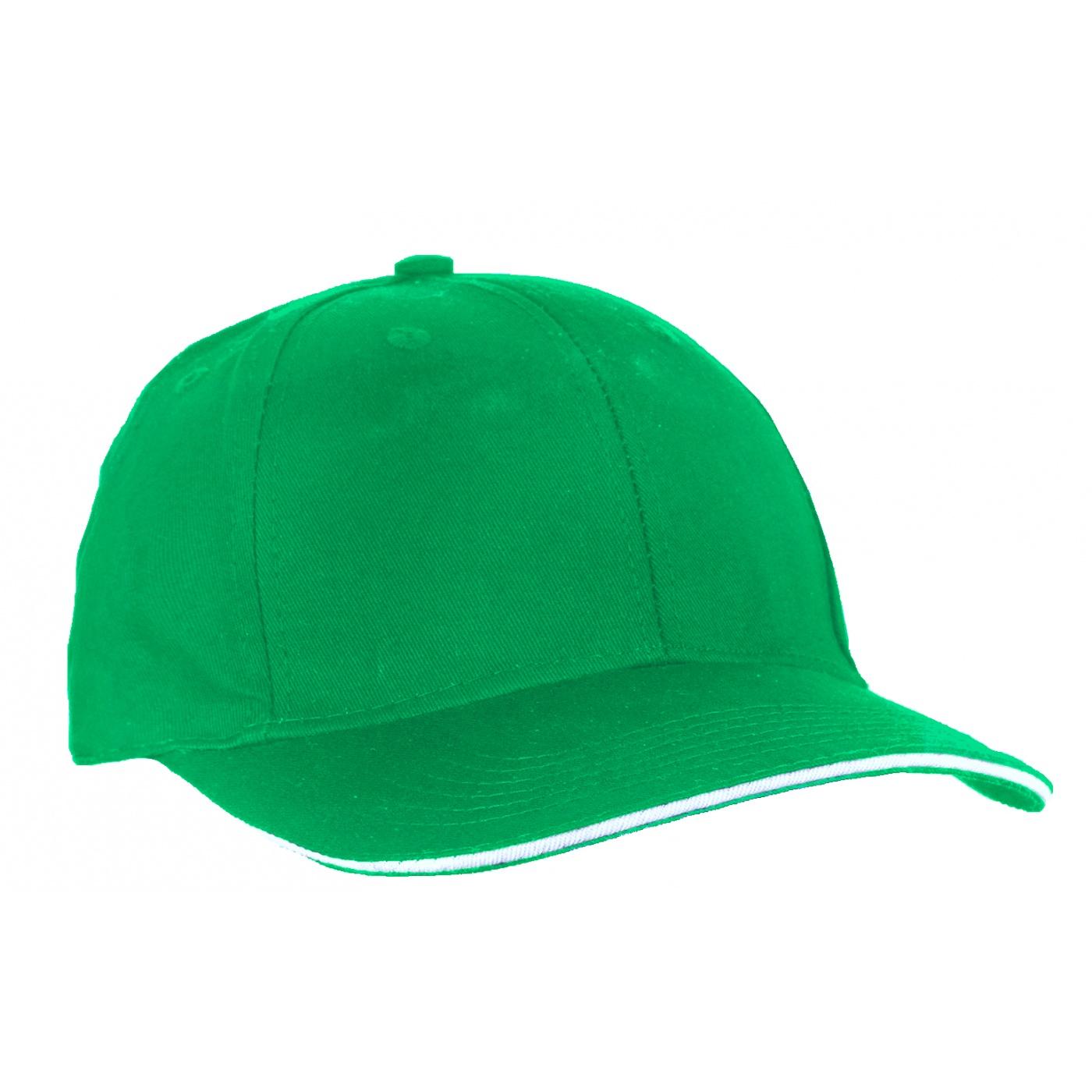 Czapka z daszkiem bejsbolówka – zielona z białym akcentem w daszku