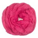 Ażurowy damski szalik komin oczko - różowy cukierkowy