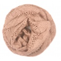 Ażurowy damski szalik komin oczko - brudny różowy