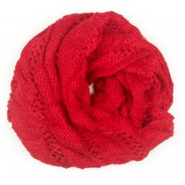 Ażurowy damski szalik komin oczko - czerwony