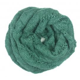 Ażurowy damski szalik komin oczko - miętowy zielony