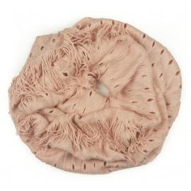 Damski szalik komin z dziurkami - bladoróżowy