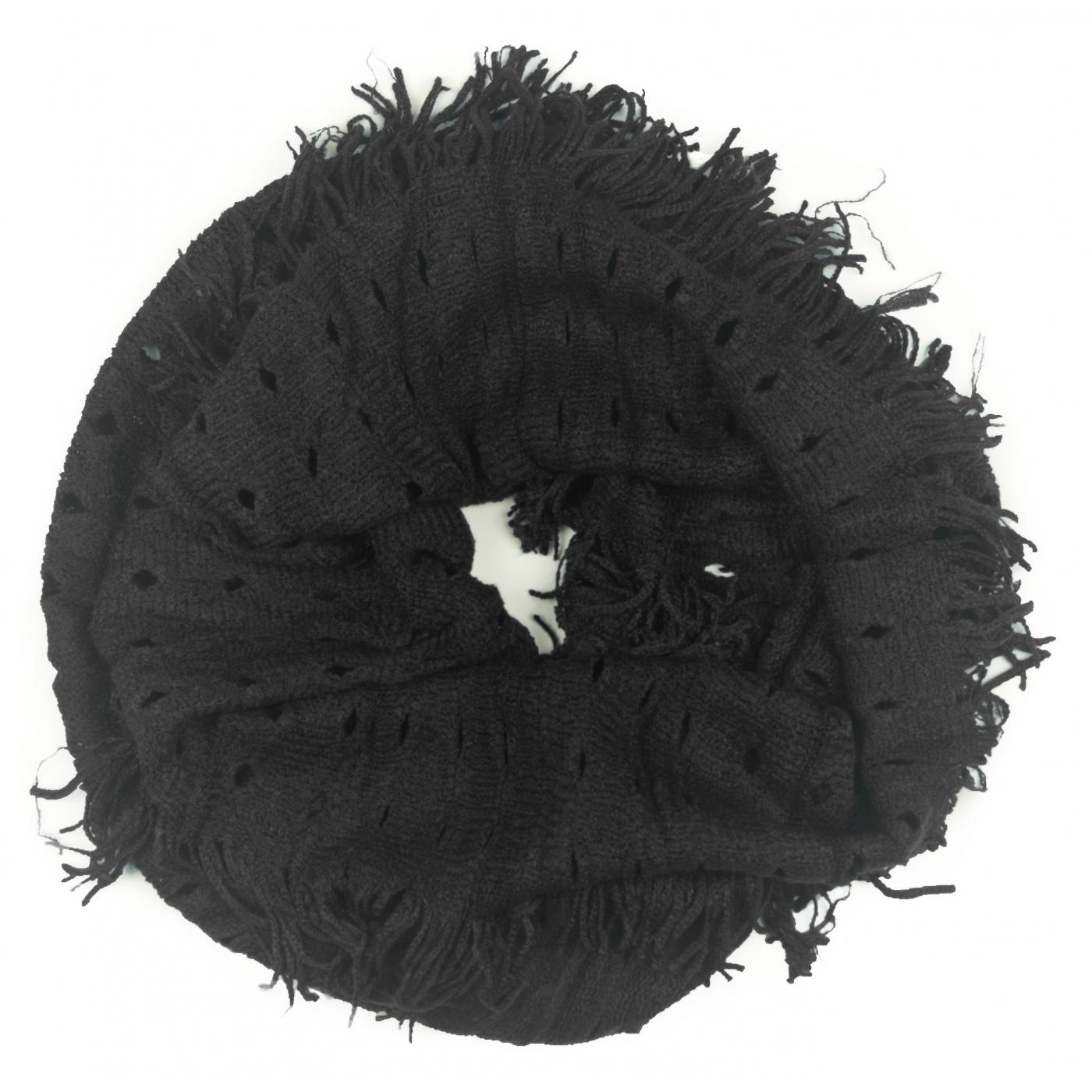 Damski szalik komin z dziurkami - czarny