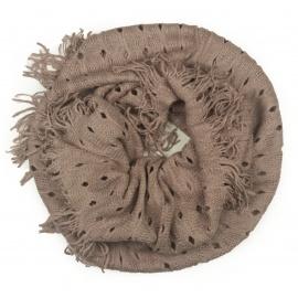 Damski szalik komin z dziurkami - brudny różowy