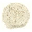 Damski szalik komin z dziurkami - kremowy biały