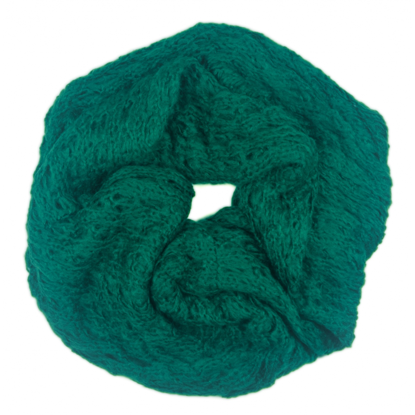 Puszysty damski szalik komin - morski zielony