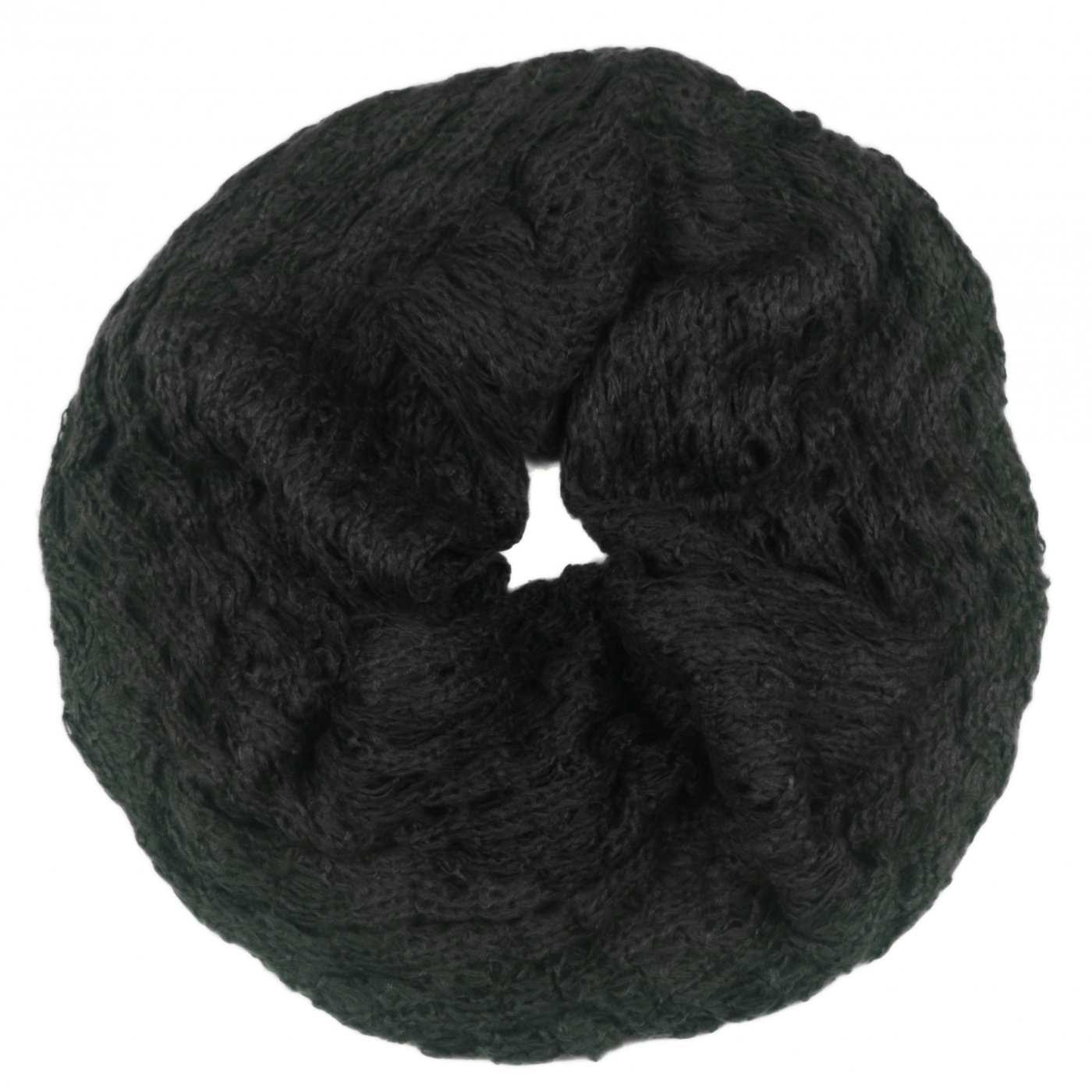 Puszysty damski szalik komin - czarny